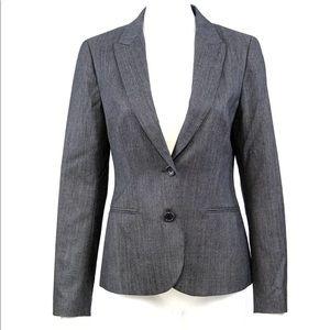 Theory Blazer Sz 8 Gray 2-Button Wool Stretch
